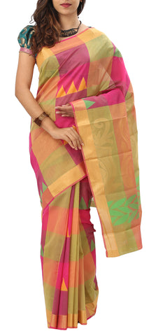 Multicoloured Checked Semi Silk Cotton Saree