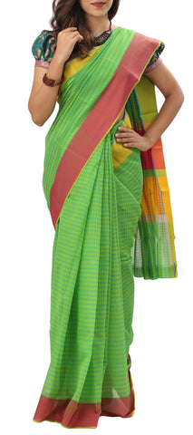 Green Semi Silk Cotton Saree
