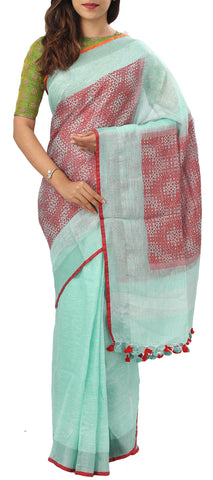 Light Turquoise & Red Semi Jute Saree