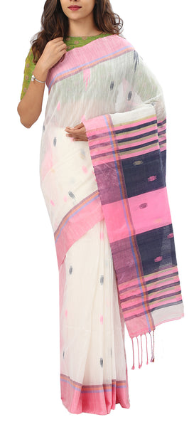 White, Pink & Black Semi Maheshwari Cotton Saree
