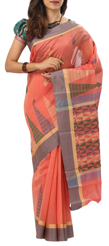Peach Semi Silk Cotton Saree
