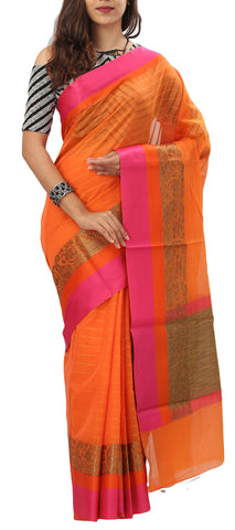 Orange & Pink Semi Silk Cotton Saree