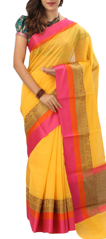 Yellow & Pink Semi Silk Cotton Saree