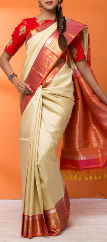 Cream & Orange Pure Kanchipuram Handloom Silk Saree
