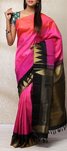 Pink, Orange & Black Pure Kanchipuram Handloom Silk Saree