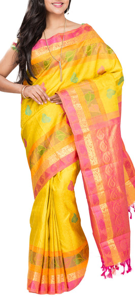 Yellow & Peach Pure Kanchipuram Handloom Silk Saree