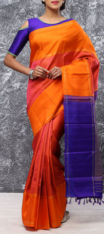 Orange & Purple Pure Kanchipuram Handloom Silk Saree With Pure Zari