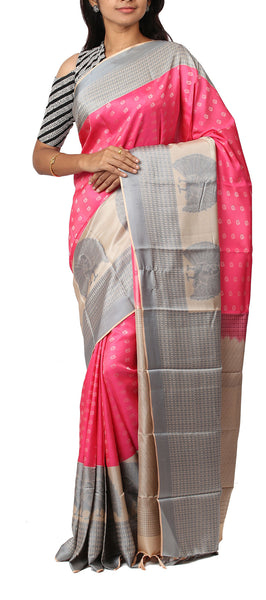 Bright Pink & Beige Lightweight Kanchipuram Silk Saree