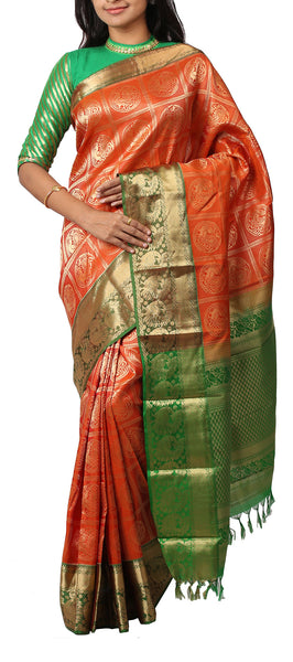 Orange & Green Lightweight Kanchipuram Silk Saree