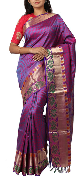 Purple & Magenta Lightweight Kanchipuram Silk Saree