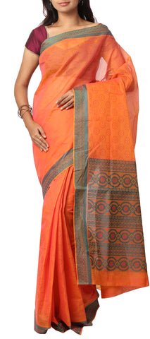 Bright Orange Embossed Summer Cotton Saree