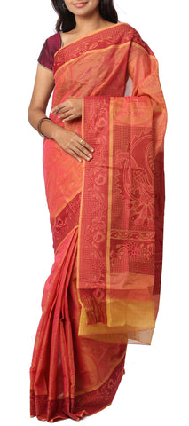 Orange & Maroon Embossed Summer Cotton Saree