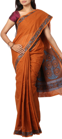 Orange-Brown Embossed Cotton Saree