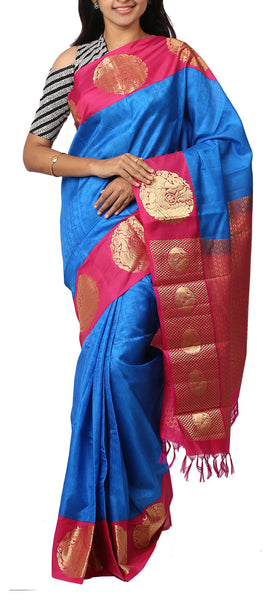 Blue & Pink Lightweight Kanchipuram Silk Saree