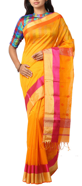 Mango Yellow & Pink Maheshwari Cotton Saree