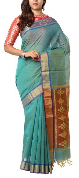 Light Aqua Blue & Brown Semi Silk Cotton Saree