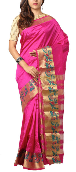 Dark Pink Semi Tussar Saree