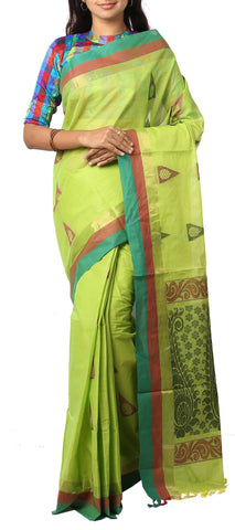 Parrot Green Ethnic Summer Cotton Saree