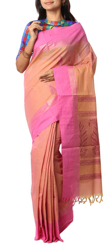 Rose-Beige and Pink Summer Cotton Saree