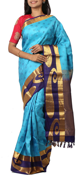 Turquoise & Navy Blue Lightweight Kanchipuram Silk Saree