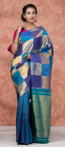 Purple & Lavender Pure Kanchipuram SIlk Saree With Pure Zari