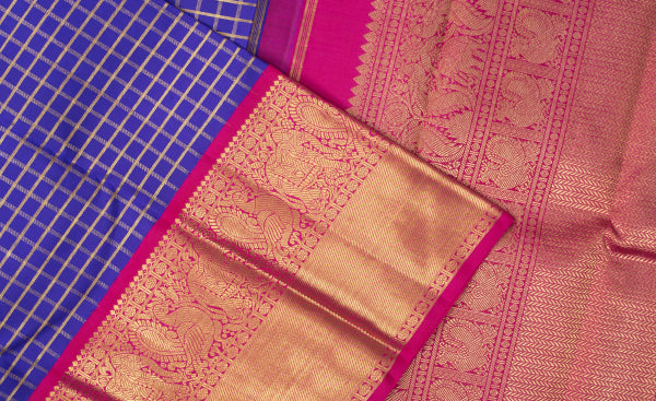 Royal Blue and Dark Pink Purple & Pink Kanchipuram Handloom Pure Silk Saree