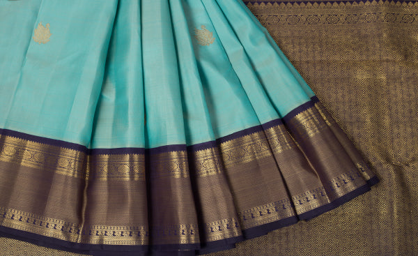 Light Turquoise Blue & Dark Blue Purple & Pink Kanchipuram Handloom Pure Silk Saree