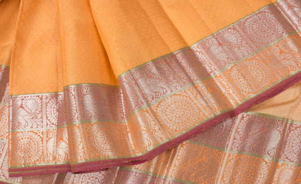 Mango Yellow Purple & Pink Kanchipuram Handloom Pure Silk Saree