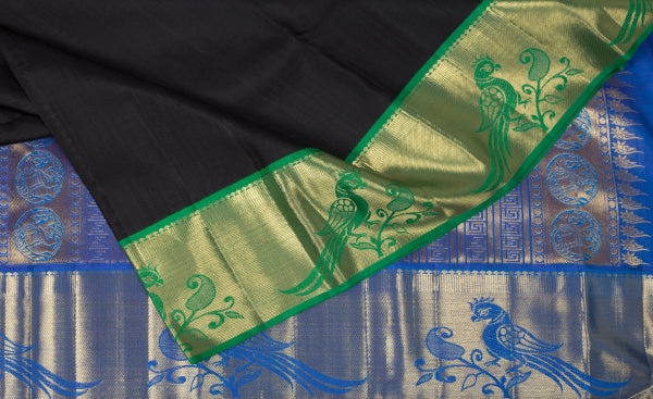 Black, Blue & Green Bridal Kanchipuram Handloom Pure Silk Saree