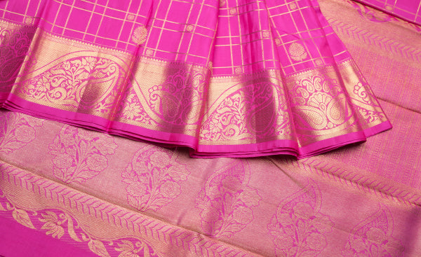 Bright Pink Bridal Kanchipuram Handloom Pure Silk Saree