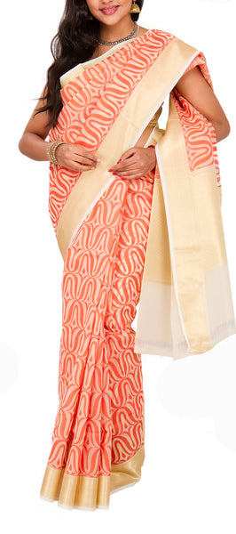 White and Orange Organza Saree