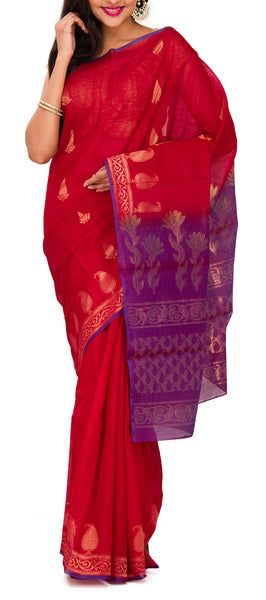 Red and Purple Silk Cotton Saree