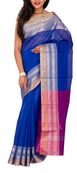 Blue, Mauve and Purple Silk Cotton Saree