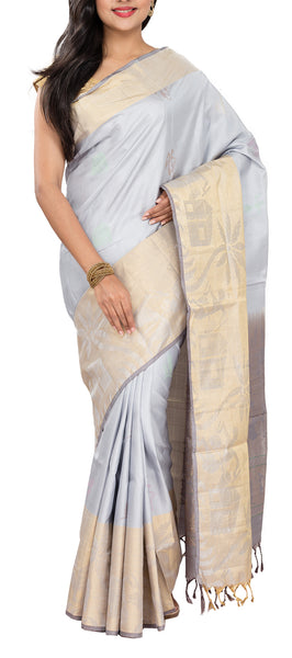 Grey & Beige Soft Silk Saree