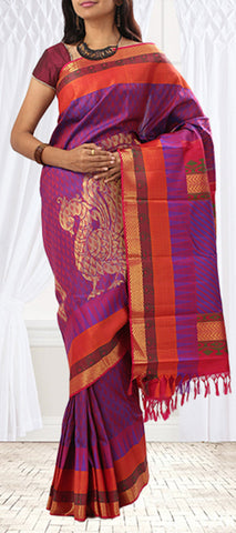 Purple, Pink & Orange Pure Kanchipuram Handloom Silk Saree With Half-Fine Zari