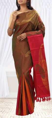 Brown, Red & Orange Pure Kanchipuram Handloom Silk Saree