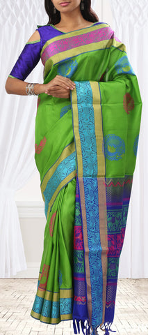 Parrot Green Soft Silk Saree With Colourful Border & Pallu