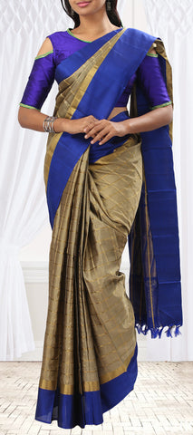 Dark Blue and Taupe Soft Silk Saree