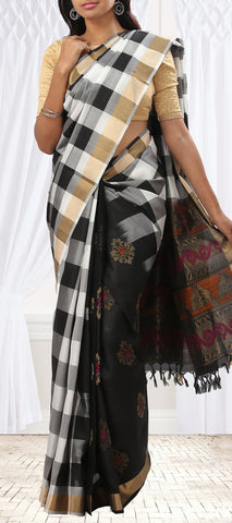 Black & White Checked Soft Silk Saree