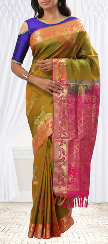Moss Green & Pink Soft Silk Saree