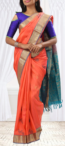 Peach & Blue-Green Soft Silk Saree