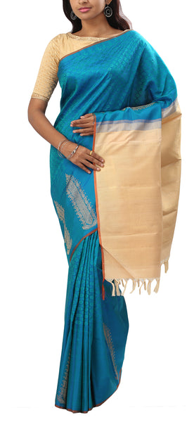 Turquoise Lightweight Kanchipuram Silk Saree With Half Fine Zari
