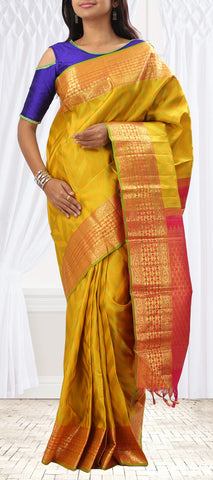 Mustard-Green & Red Pure Kanchipuram Handloom Silk Saree