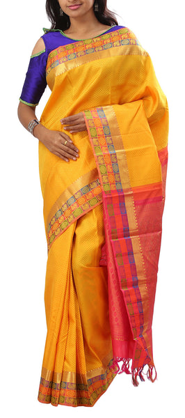 Yellow & Dark Pink Pure Kanchipuram Handloom Silk Saree With Half Fine Zari