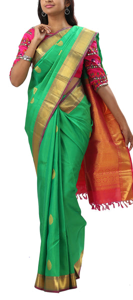 Green & Pinkish Red Pure Kanchipuram Handloom Silk Saree