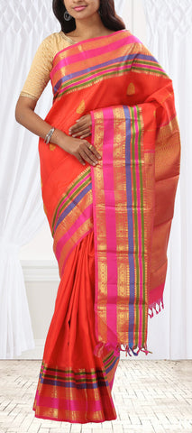 Orange Pure Kanchipuram Handloom Silk Saree With Colourful Border