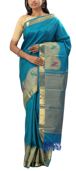 Teal Blue Pure Kanchipuram Handloom Silk Saree With Half Fine Zari