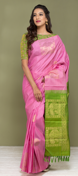 Baby Pink Pure Kanchipuram Handloom Silk Saree With Pure Zari