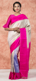 Cream & Pink Pure Kanchipuram SIlk Saree With Pure Zari