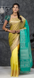 Green & Aqua Pure Kanchipuram SIlk Saree With Pure Zari